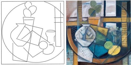 《仙人掌、彩陶与静物》中的立体几何造型构图分析,方圆矩阵间各有其秩序