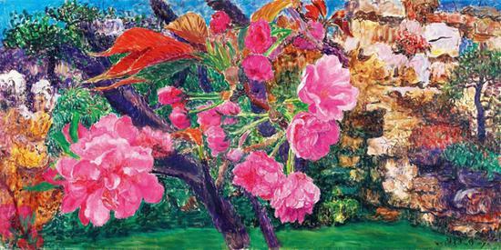 周春芽《晚樱与桃花》布面油画