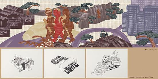 """""""80后""""艺术家薛颖峰为""""开新""""板块创作的绘画作品。"""