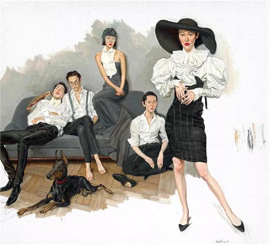 白衬衫  White Shirts    布面油画 Oil on canvas 210 x 230 cm 2017