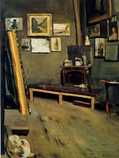 巴齐耶《在维斯康蒂街的工作室》,1867年