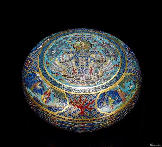 清乾隆 御制铜胎掐丝珐琅春寿宝盒 成交价:678.5万元