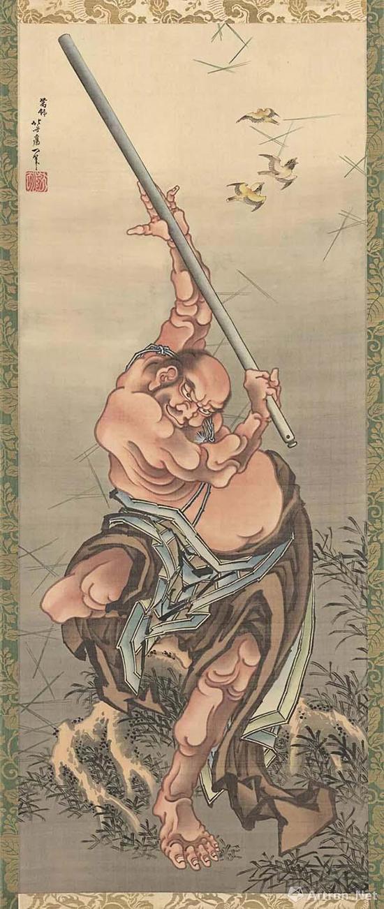 葛饰北斋(1760-1849) 《水浒传之花和尚鲁智深鲁达》105.5 x 42.4 cm