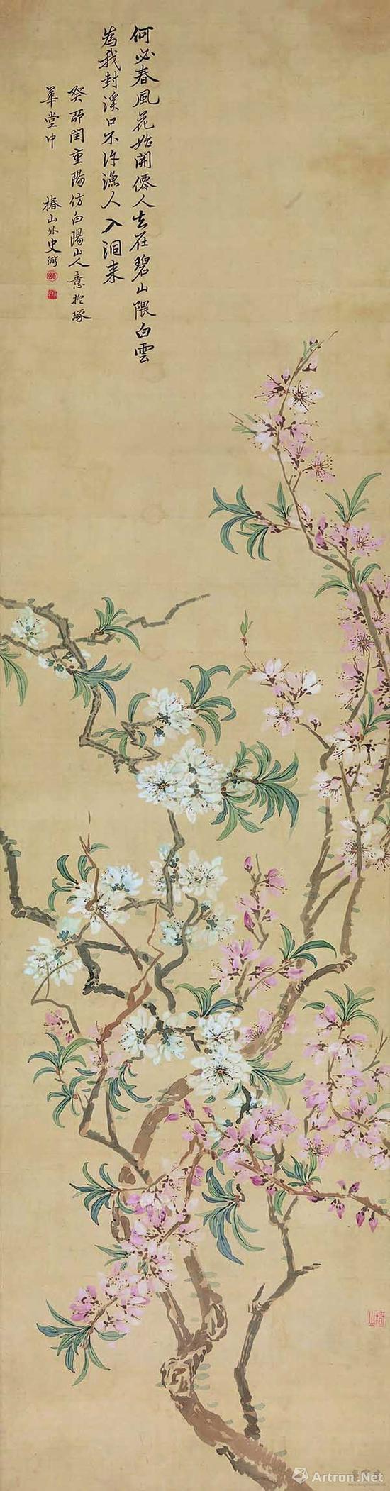 日本 椿椿山 花卉条屏 129.9cmx28.8cm 纸本设色