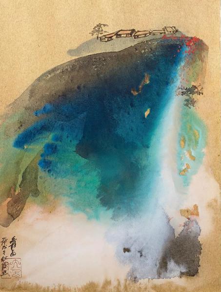"""张大千《秋日山居》,设色金笺 镜框,58.4 x 43.2 cm。,1970年作。估价:200,000 - 300,000美元。将于3月19日在佳士得纽约""""中国书画""""拍卖中呈献"""