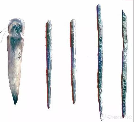 ▲加工陶范的铜针