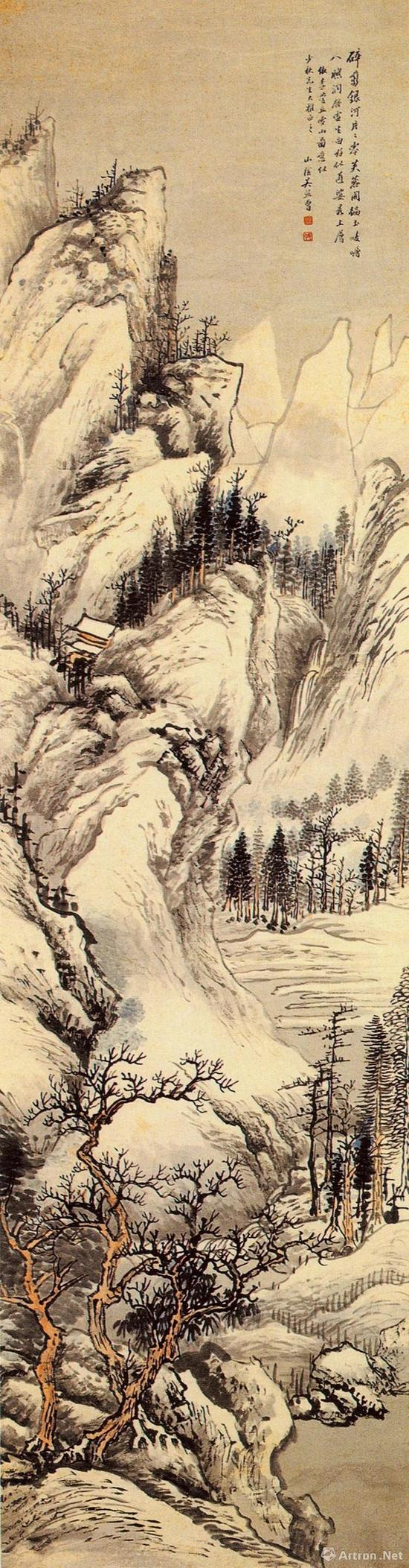 《仿李营丘雪山图》轴