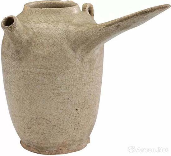 唐 北关窑青釉把壶