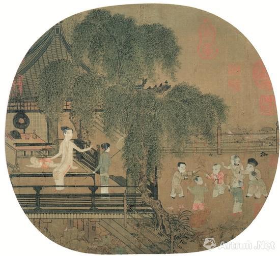 宋佚名荷亭婴戏图 现藏于美国波士顿艺术博物馆