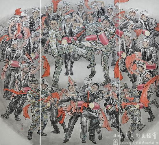 李东|军民鼓舞.团结一心