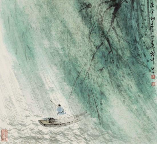 叶茂中 《行舟莫问风雨声》设色纸本 镜心 31×34cm 2020年