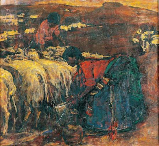 邱瑞敏,《朦胧大地》,130×140cm,布面油画,1985年