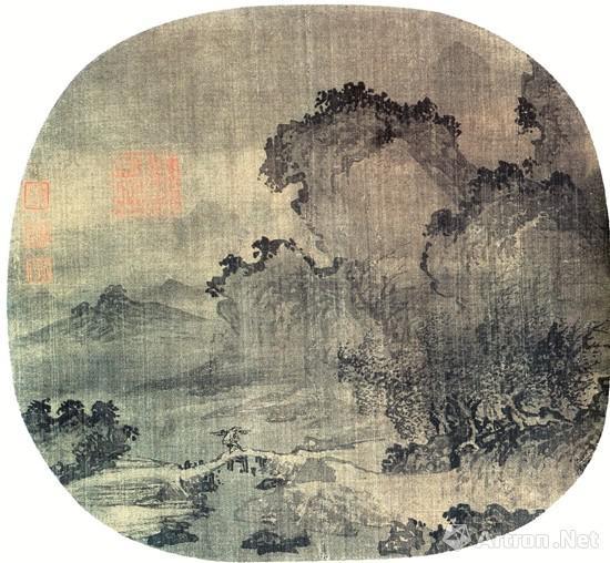 南宋 江参 日暮归渔图 现藏于美国波士顿艺术博物馆