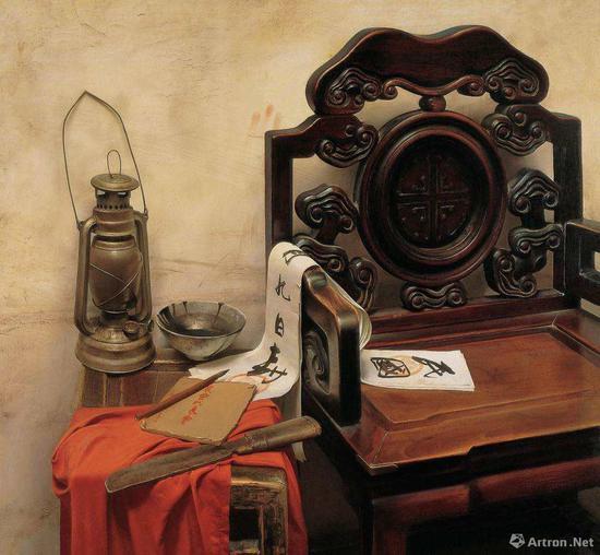 冷军《马灯的故事》布面油画 100x80cm 1991年
