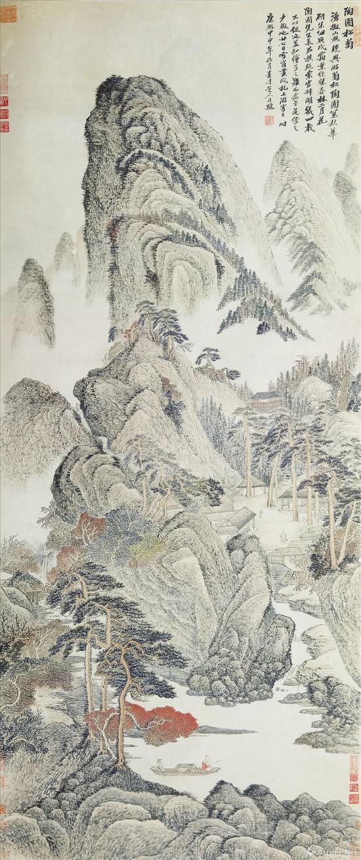 吴历《陶圃松菊图轴》((1704年作,73岁)上海博物馆收藏