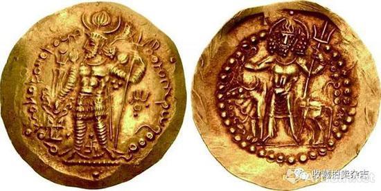 | 公元三世纪,贵霜王朝日渐衰落,萨珊王朝占领了印度河以西部分。建立了名为贵霜萨珊的附属国。但是没有使用萨珊币型,而是略加修改后沿用原贵霜币型。