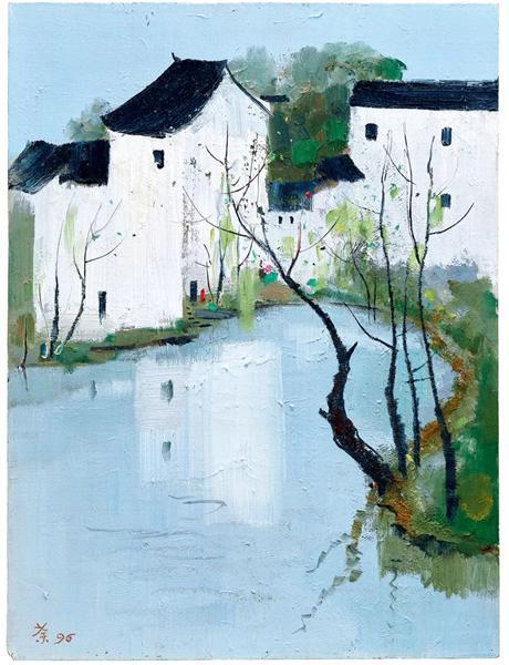 吴冠中《池塘人家(故乡)》 1996 年作 油彩木板 61.4 x 46 cm。 成交价:HK$ 10,620,000