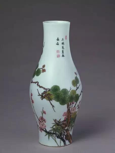 珐琅彩松竹梅纹瓶 清雍正 故宫博物院