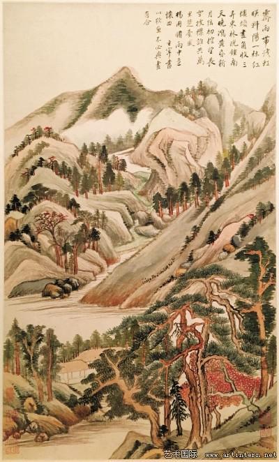 图一董其昌《仿古山水册》之《雨中遣怀》美国纳尔逊·阿特金斯艺术博物馆藏