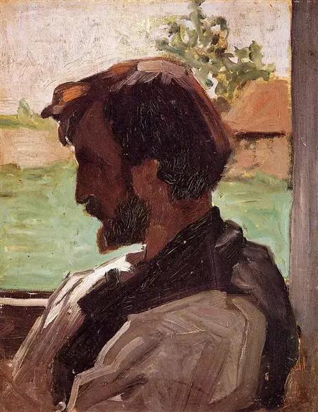 巴齐耶《在圣赛何沃的自画像》,木板油画,1868年