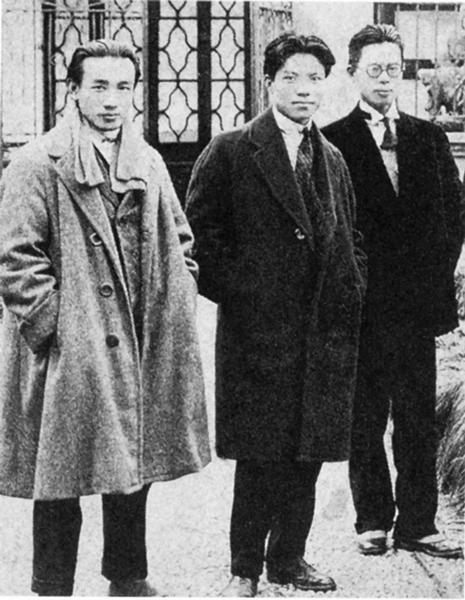 林风眠、林文铮、吴大羽(由左至右)于巴黎留学时合影