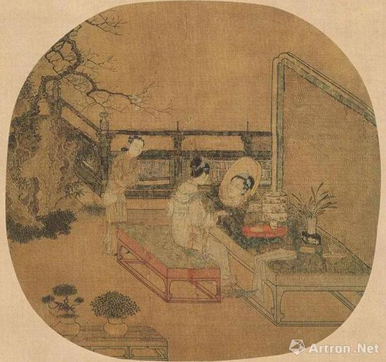 [宋]苏汉臣《妆靓仕女图》 绢本设色 25.2×26.7厘米 美国波士顿博物馆藏