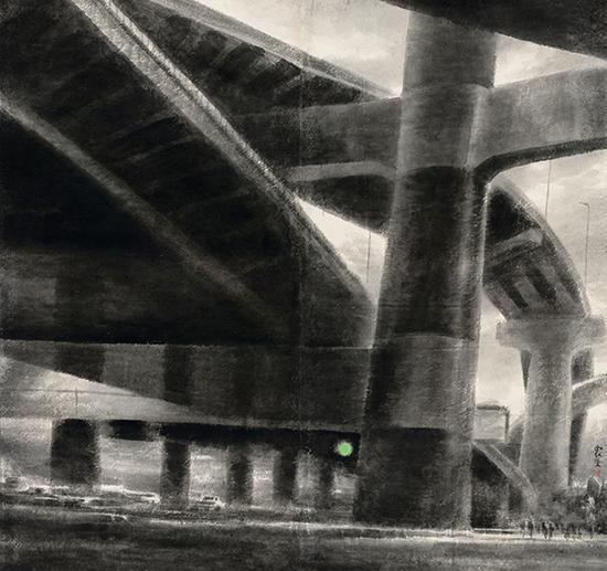 乐震文,《高架》,中国画,178×188cm