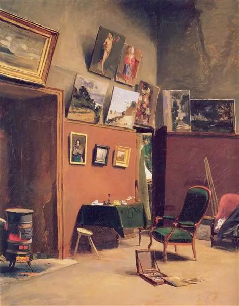 巴齐耶《在弗斯滕贝格街的工作室》,布面油画,80×65cm,1865年