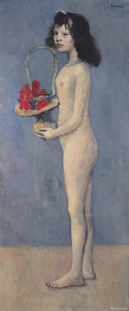 """毕加索《拿着花篮的女孩》 在纽约佳士得""""佩吉及大卫-洛克菲勒夫妇系列珍藏专拍""""中以1.15亿美元成交,是第四件超过1亿美元成交的毕加索作品"""