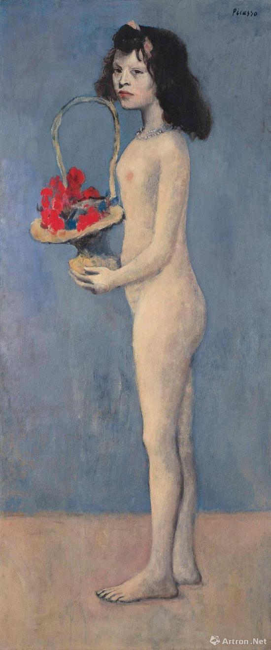 西班牙画家巴布罗·毕加索(1881~1973年)1905年作《 拿着花篮的女孩》油画(2017年纽约佳士得秋季1.15亿美元拍出)