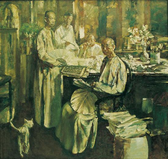俞晓夫《我轻轻地敲门》 160×150cm 布面油画 1987年(第一稿画于1984年)