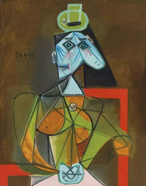 《坐在扶手椅上的女人(Femme dans un fauteuil )》,毕加索,1942