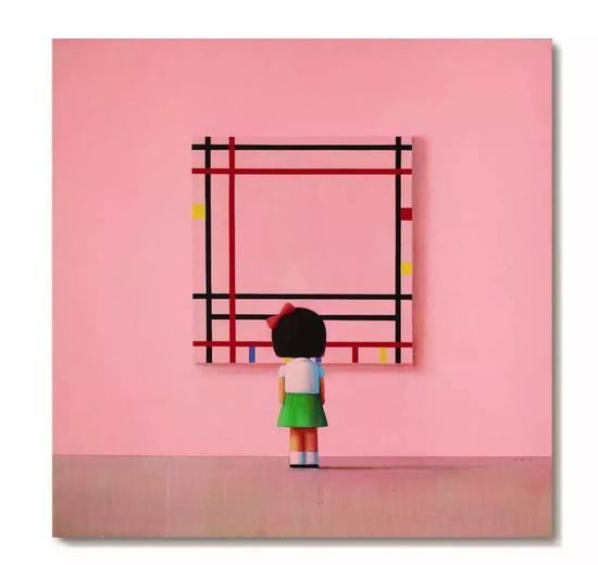 刘野《Boogie Woogie,小女孩在纽约》 二〇〇六年作 压克力油画画布 210 x 210 公分 12,000,000 - 18,000,000港元