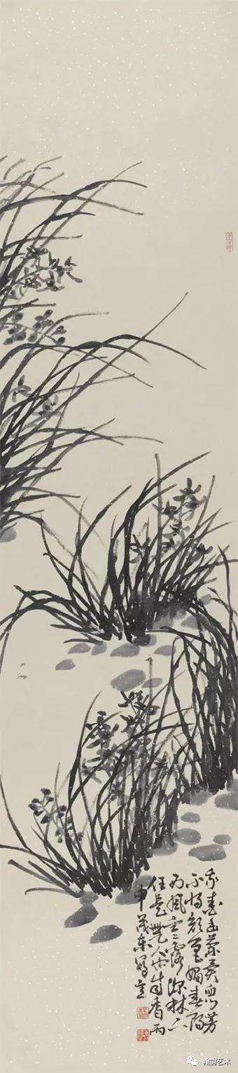 四条屏之兰纸本245x70