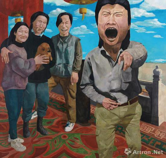 岳敏君《时代戏剧》布面油画 191×200cm 1992中国嘉德成交价:1610万元