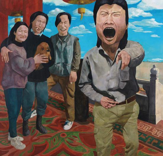 岳敏君《时代戏剧》布面油画