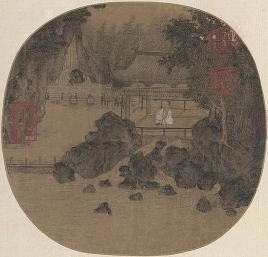 燕文贵(北宋)《纳凉观瀑图》 绢本设色23.7×24.8cm