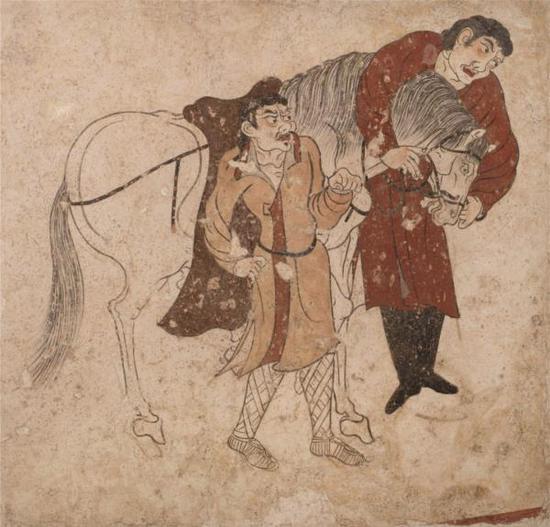 胡人备马图 1990年陕西省礼泉县昭陵韦贵妃墓出土 昭陵博物馆藏