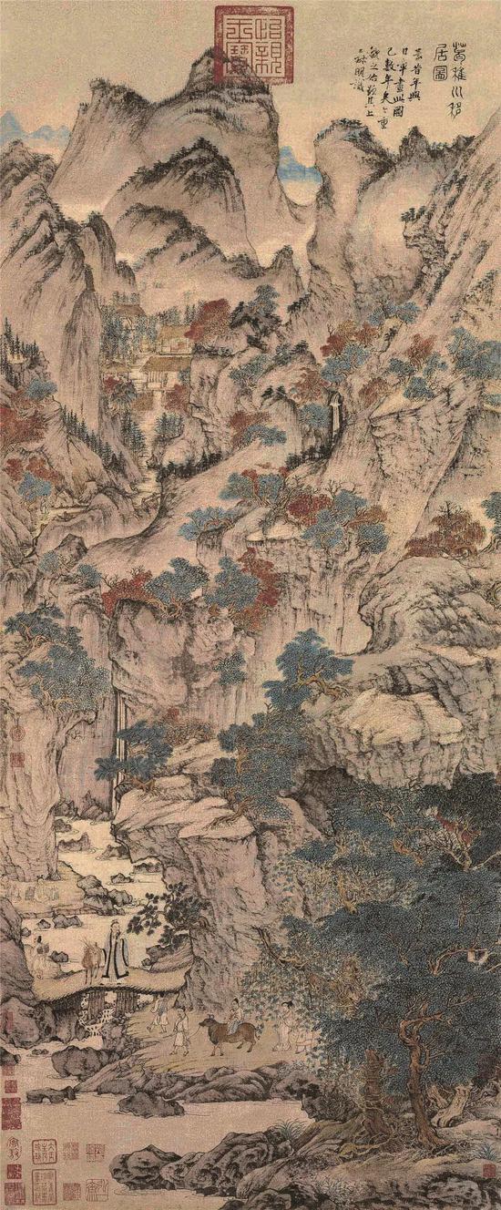 [元]王蒙葛稚川移居图纸本设色 139cm×58cm故宫博物院藏