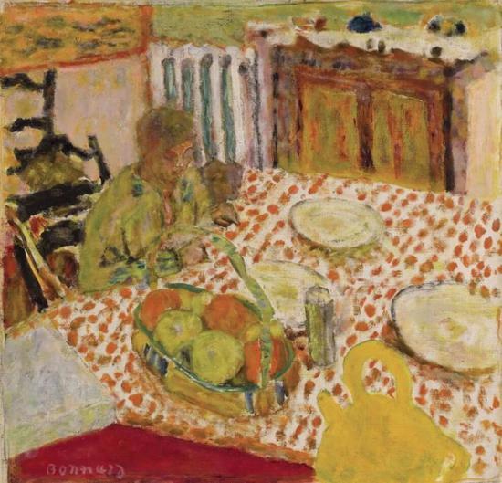 皮耶·博纳尔(Pierre Bonnard)《玛特与狗坐在桌前》   约1930年作   款识:画家签名   油彩画布   43.3 x 44.2 公分