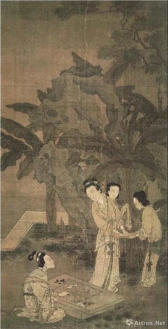(明)姜隐 芭蕉美人图 绢本设色 纵105.1厘米 横51.8厘米 〔美〕加州大学博物馆藏