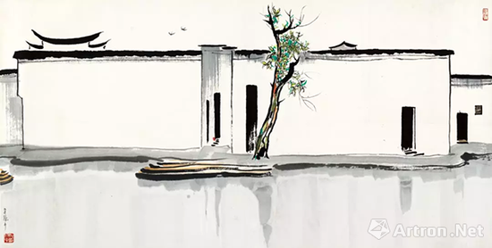 吴冠中 水墨《双燕》纸本设色 69x137cm 1988年