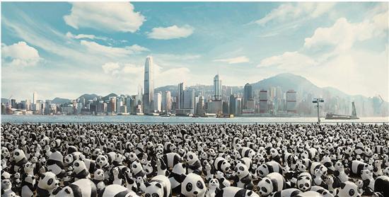 保罗·格兰登(Paulo Grangeon) 1600只大熊猫旅行 装置艺术