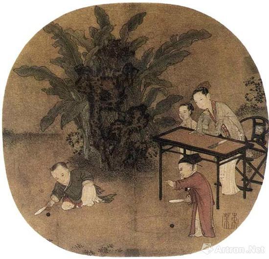 宋《蕉阴击球图》?故宫博物院藏