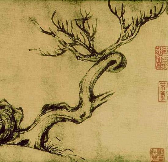 《枯木怪石图》资料图片局部