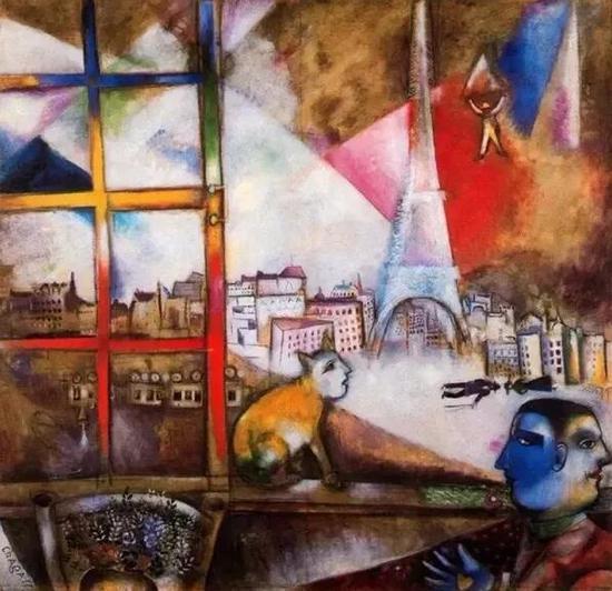 夏加尔《从窗口见到的巴黎》