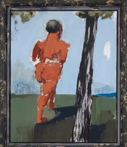 """吕佩尔兹《抛弃II(亚当)》""""Abkehr I (Adam)布面油画,100 x 81 cm,2008"""