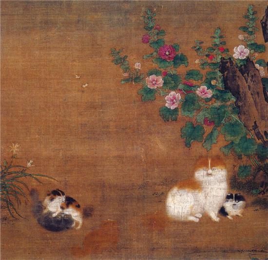 毛益《蜀葵戏猫图》
