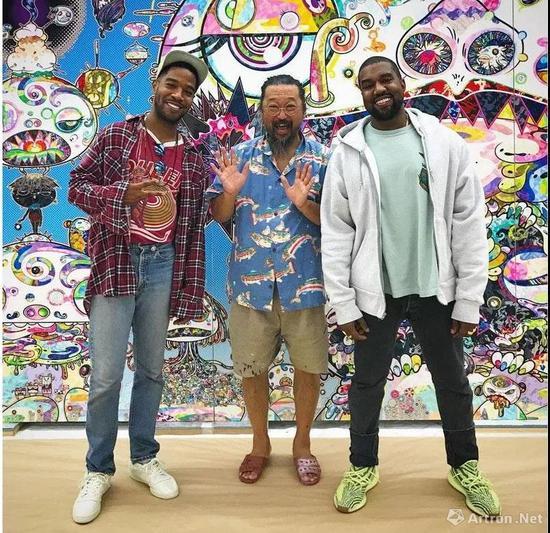▲左起:Kid Cudi 、村上隆、Kanye West