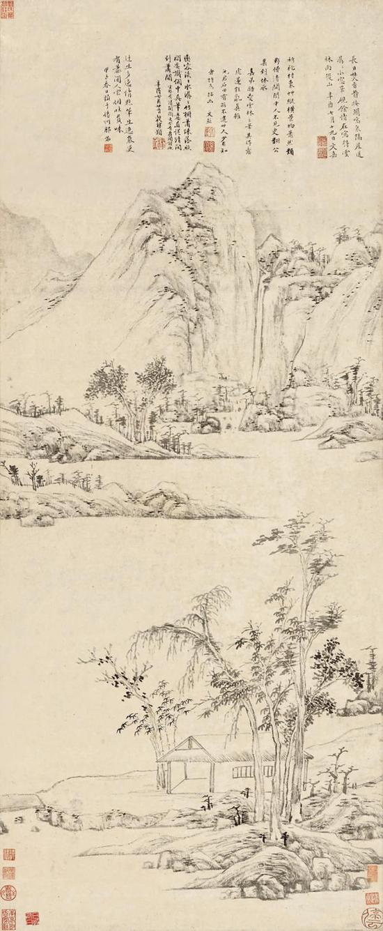 文嘉《雨后山图》轴,纸本水墨,121.5厘米×49.5厘米,1565年